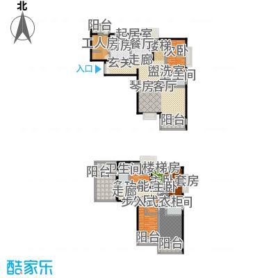 绿地名人坊190.00㎡房型: 复式; 面积段: 190 -290 平方米; 户型
