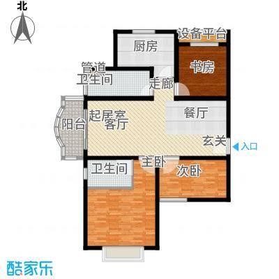 明珠家园121.00㎡房型: 三房; 面积段: 121 -127 平方米; 户型