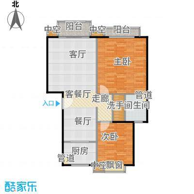 金瓯万国大厦89.3平米两房两厅一卫户型
