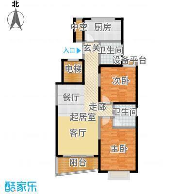 海洲丽园三期109.19㎡房型: 二房; 面积段: 109.19 -114.59 平方米;户型