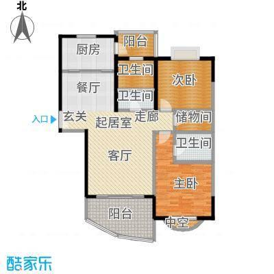 金日世家玉兰苑120.00㎡房型: 二房; 面积段: 120 -130 平方米; 户型