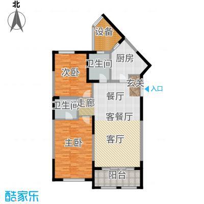 尚海湾豪庭B1户型2室1厅2卫1厨