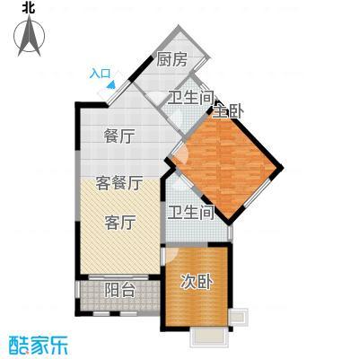 尚海湾豪庭B2户型2室1厅2卫1厨