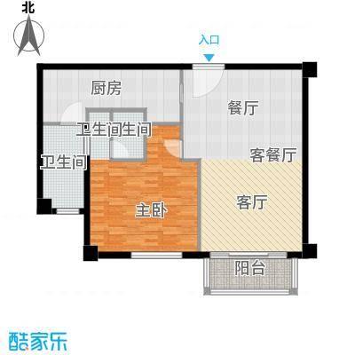 宛平88A2户型1室1厅2卫1厨