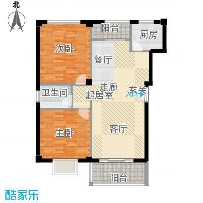 新贵都万体景苑商业88.00㎡两房两厅两卫88平米南北通户型
