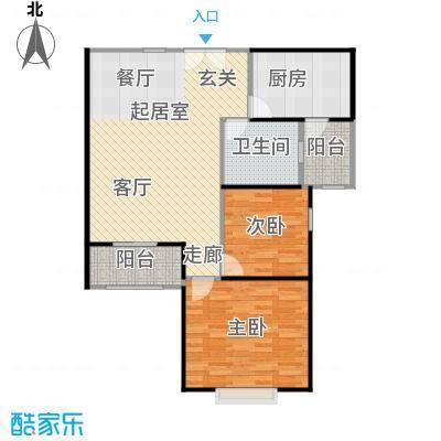 长宁88金廷1号楼B户型2室1卫1厨