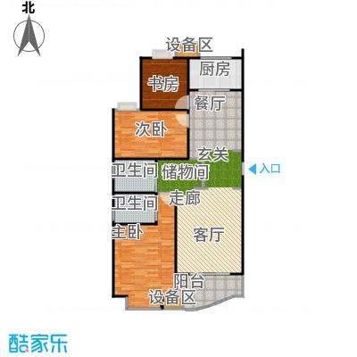 均泰丽轩115.72平方米2室2厅2卫户型2室2厅1卫