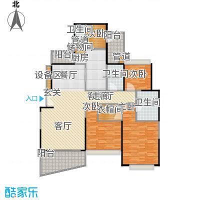 国际丽都城三期161.00㎡房型: 三房; 面积段: 161 -176 平方米; 户型