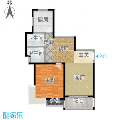 万里双子座81.50㎡房型: 一房; 面积段: 81.5 -89.76 平方米; 户型