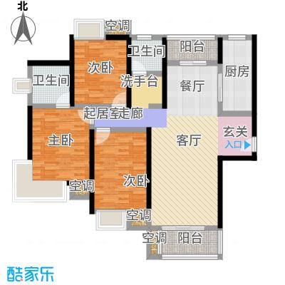 万里晶品苑三房二厅二卫,面积约140平方米户型