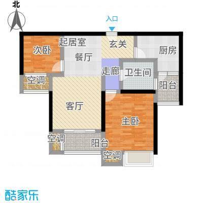万里晶品苑二房二厅一卫,面积约80平方米户型