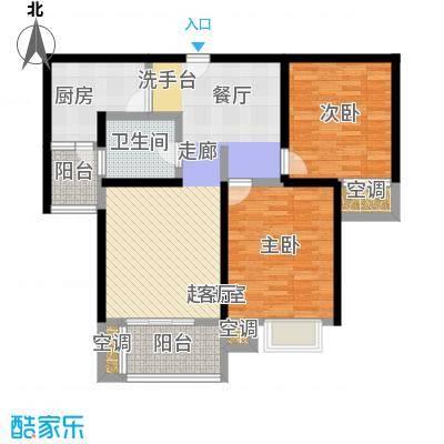 万里晶品苑二房二厅一卫,面积约91平方米户型