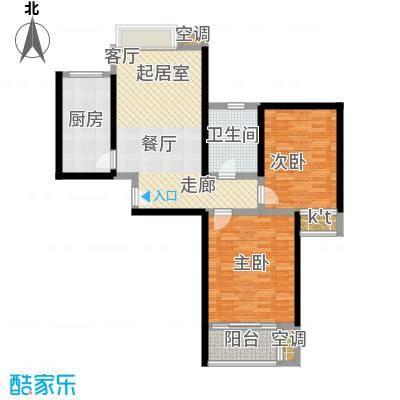 万里晶品苑二房二厅一卫,面积约92平方米户型