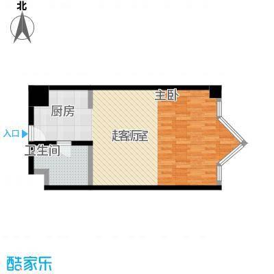 MINI公馆56.51㎡一室二厅一卫户型