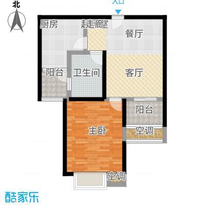 万里晶品苑一房二厅一卫,面积约66平方米户型