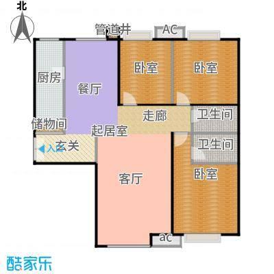 创智年代三房两厅两卫140平南北通房型户型