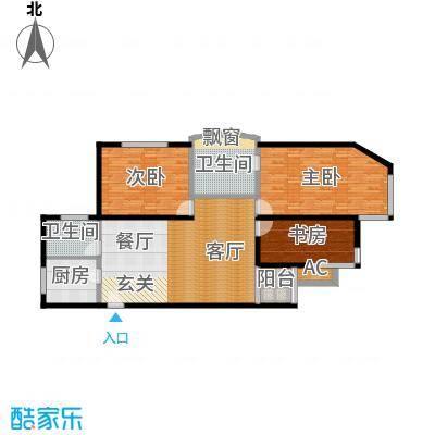 大众河滨大厦130.00㎡房型: 三房; 面积段: 130 -130 平方米;户型