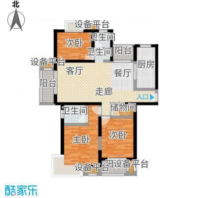 中环花苑一期100.00㎡房型: 二房; 面积段: 100 -110 平方米; 户型
