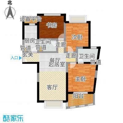 浦发广场124.39㎡房型: 三房; 面积段: 124.39 -124.73 平方米; 户型
