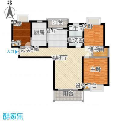 绿洲湖畔花园一期116.00㎡房型: 三房; 面积段: 116 -136 平方米;户型
