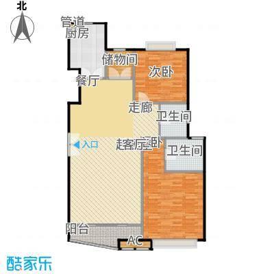 大上海国际花园一期房型户型2室2卫1厨