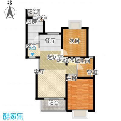 新梅共和城一期房型: 二房; 面积段: 86 -93 平方米; 户型