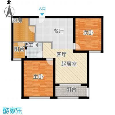 瑞虹新城�庭平层03-户型2室1卫1厨