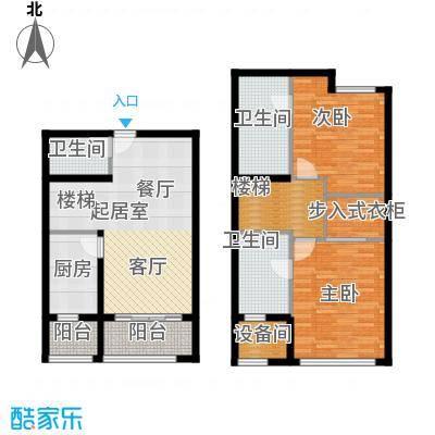瑞虹新城�庭复式03-户型2室3卫1厨