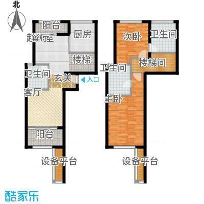 瑞虹新城�庭复式06-户型2室3卫1厨