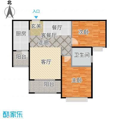 中信和平家园户型2室1厅1卫1厨