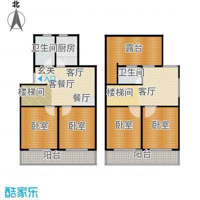 虹北公寓房型复式户型2厅2卫1厨
