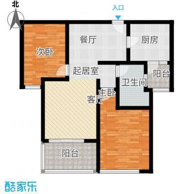 瑞虹新城�庭户型2室1卫1厨