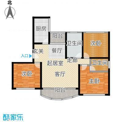 和泰玫瑰苑113平方米三室两厅两卫两南一北户型