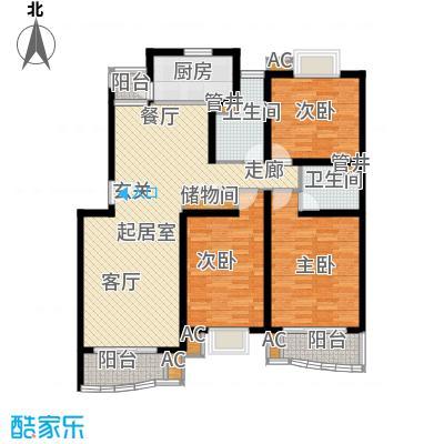 浣纱雅苑122.00㎡房型: 三房; 面积段: 122 -129 平方米; 户型