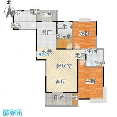 新江湾城建德国际公寓100.00㎡房型: 二房; 面积段: 100 -120 平方米; 户型