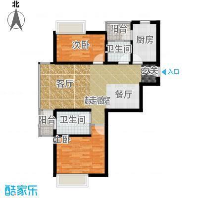 浦江华侨城三期观景公寓G户型2室2卫1厨