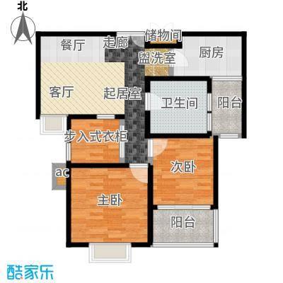 浦江智汇园二房二厅一卫,面积约78平方米户型