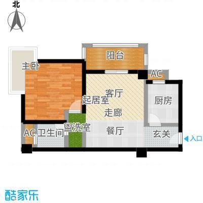 尚城河滨一房二厅一卫,面积约65平方米户型-T