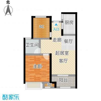 万科MIXTOWN66平米1室2厅1卫户型1室2厅1卫