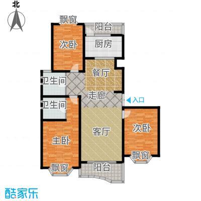 锦澳家园房型: 三房; 面积段: 125.78 -136.29 平方米; 户型