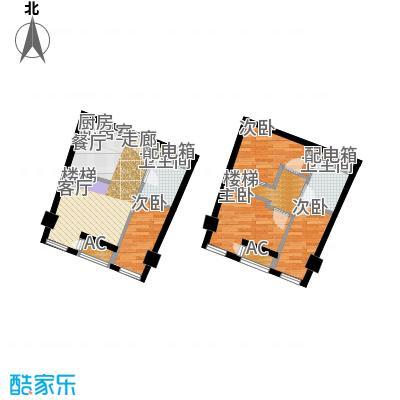 中宇国际中心66.95㎡20-25层E户型,层高5.2米精装酒店式公寓户型3室2厅2卫