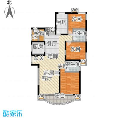 上海康城(三期)130.00㎡房型: 三房; 面积段: 130 -137 平方米; 户型