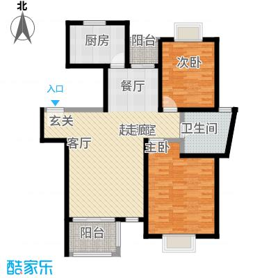 东苑米蓝城一期95.00㎡房型: 二房; 面积段: 95 -100 平方米;户型