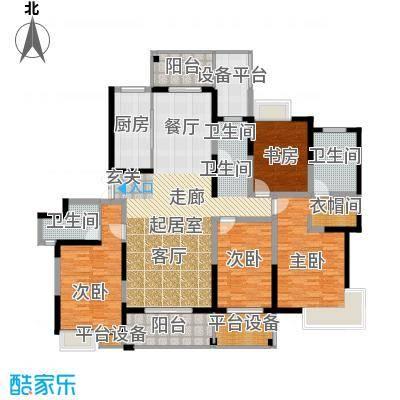 路劲翡丽湾E1户型4室3卫1厨