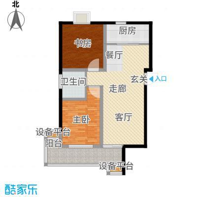 三元及地苑90.00㎡房型: 二房; 面积段: 90 -100 平方米;户型
