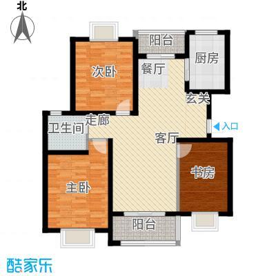 三元及地苑100.00㎡房型: 三房; 面积段: 100 -110 平方米;户型