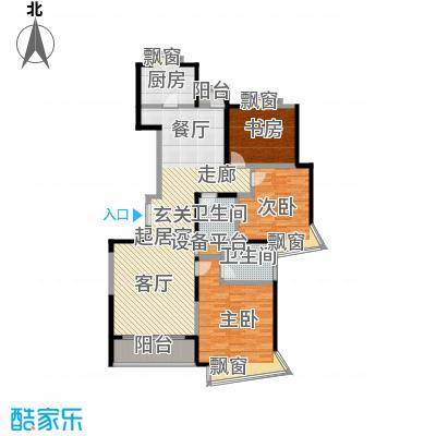 河滨围城(二期)房型面积段户型3室2卫1厨