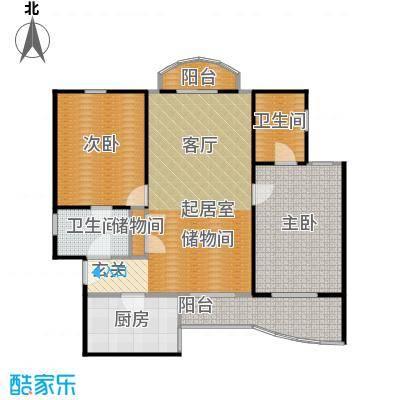 上海康城(一期)房型户型2室2卫1厨