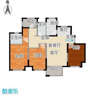 中冶祥腾宝月花园124.01㎡B户型3室1厅2卫1厨