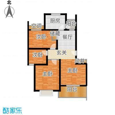 新梅绿岛苑80.00㎡房型: 二房; 面积段: 80 -90 平方米;户型